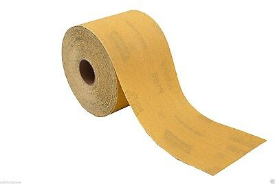 "Norton 320 Grit 2.75"" x 25yds PSA Sandpaper Dura Block Gold Sticky Back Roll"