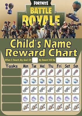 Personalised. Fortnite Reward Chart/potty training/behaviour. Re-useable