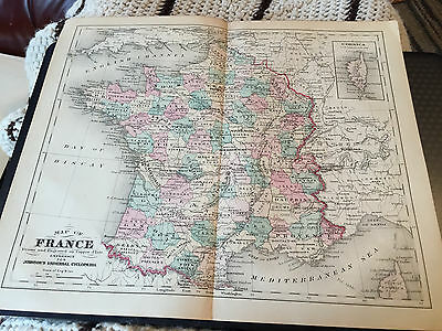 Vintage Johnson's Universal Cyclopaedia Map Of France And Corsica