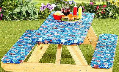 3 Piece Fitted Picnic Table & Bench Seat Cover Set Elastic Fit Patio Tablecloth