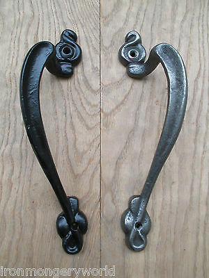 PAIR - Vintage Cast Iron Door Pull Handles Art Nouveau Architectural Antique Old