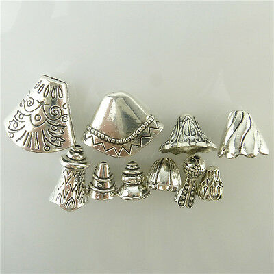 10pcs Mix Vintage Silver Totem Leaves Tower Sector Spacer Beads Cap Tassels End