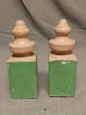 Antique Pair Wood Porch Span Drop Finials Decorative Gingerbread Old Vtg 418-16