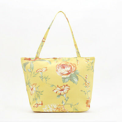NEW Vintage Shabby Chic Yellow Pink Peony Shopper Tote Beach Bag, Knitting Bag