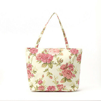 NEW Cotton Tote bag- Knitting craft bag- Zip Beach bag- Market- Pink rose floral