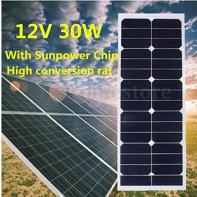 30W 12V Monocrystalline Semi Flexible Solar Panel Battery Charger + 3m Cable