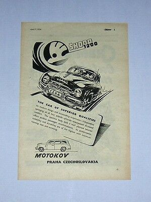 Skoda 1200 Advert from 1954 - Original Advertisement