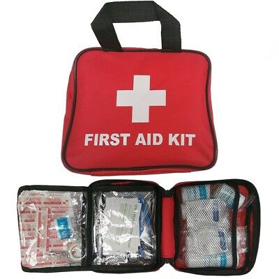70 Piece First 1St Aid Kit Medical Emergency Travel Home Car Taxi Work Red Bag
