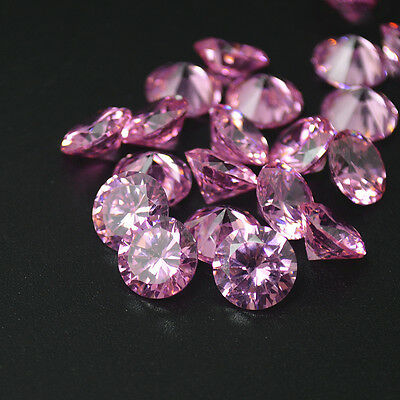 Round Cut PINK CZ Cubic Zirconia Loose Stone Lot 2/2.5/3/4/5/6/7/8/9/10/12mm