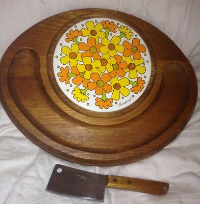Vintage GOODWOOD Mid Century Cheese Board with knife EUC