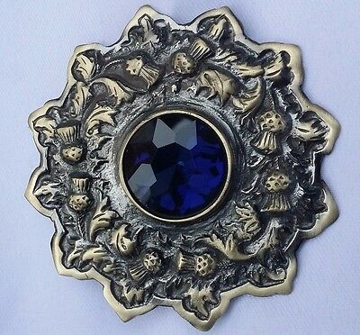 "Highland Kilt Fly Plaid Brooch Blue Stone Antique Finish 4""/Scottish Brooches"