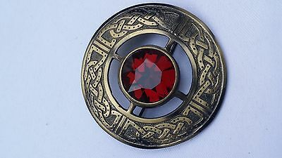 "Men's Celtic Kilt Fly Plaid Brooch Red Stone Antique Finish 3""/Fly plaid Brooch"