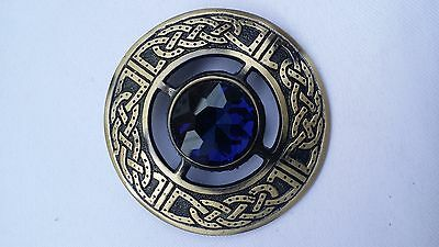 "Men's Celtic Kilt Fly Plaid Brooch Blue Stone Antique Finish 3""/Fly plaid Brooch"