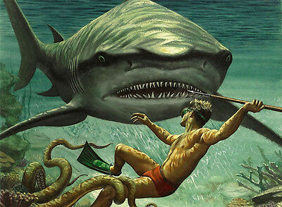 "SHARK ATTACK Painting Giclee Canvas 16""x20"" with Mat Frame. Ocean Diver"