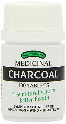 Bragg's Medicinal Charcoal 100 Tablets Fast Free Shipping - BRAND NEW