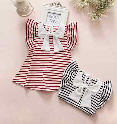 Baby Girls Summer Striped Big Bow Navy & Red Princess Top Dresses