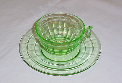Hocking Green Block Optic Depression Glass Knob Handle Cup with Saucer