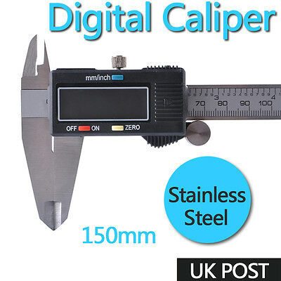 "6"" 150mm LCD Digital Vernier Caliper Micrometer Electronic Measurement Tools UK"