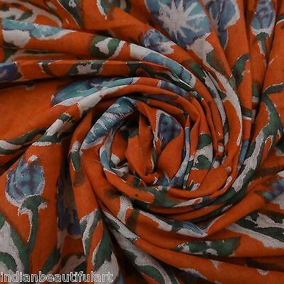 Indian Cotton Voile Fabric Sewing Hand Block Print Craft Material By 1 Yard