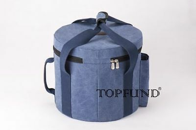 """Heavy Duty Canvas Crystal Singing Bowl Carrier for 8"""" Bowl - Blue color"""
