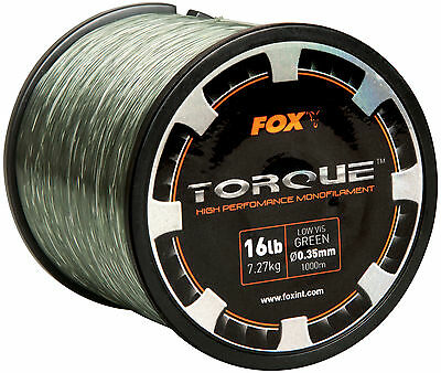 New For 2016 - Fox Torque Low Viz Monofilament Carp Fishing Line - All The Sizes
