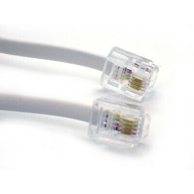 15m meter WHITE RJ11 to RJ11 ADSL BT Phone Broadband Lead Modem Router Cable