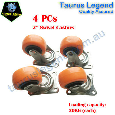 4 X 2 Inch (50mm) Hardened Plastic Swivel Castor Small Wheel Set -Orange
