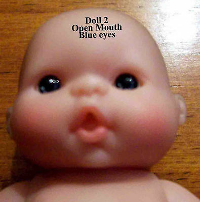 "Adorable Berenguer 5"" Inch Baby Doll Dark Blue Eye Lot of Love Babies Open Mouth"