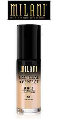 NEW ! MILANI Conceal + Perfect 2 In 1 Foundation + Concealer # 2 Natural USA