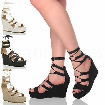 WOMENS LADIES HIGH WEDGE GHILLIE LACE UP ZIP GLADIATOR CAGE SANDALS SHOES SIZE