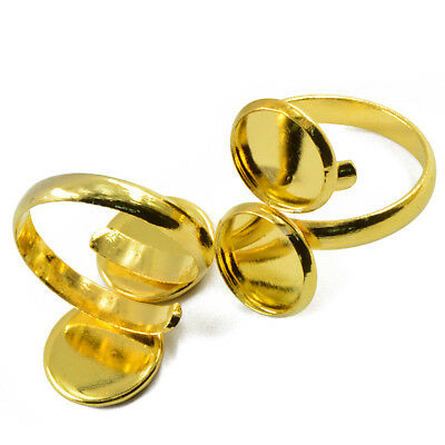 2pcs Blank Ring Base Settings with 2-Bezel 12mm Gold