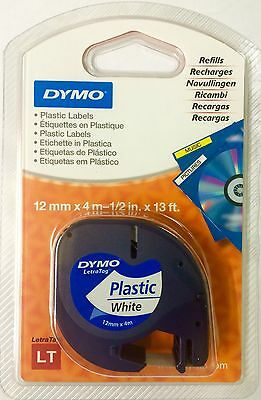 Dymo LetraTag Tape 12mm Plastic Black on White S0721610 - 91201 Original Genuine