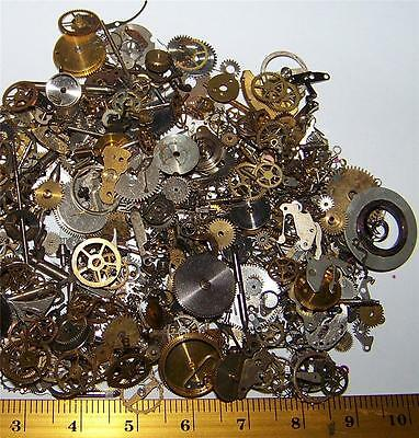 Vintage Lot Watch Parts Pieces 10g HO Model Trains, Gears Wheels Slag Steampunk