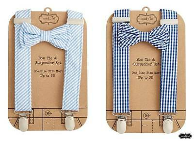 Mud Pie Little Gentlemen Bow Tie & Suspender Set  Light Blue or Navy