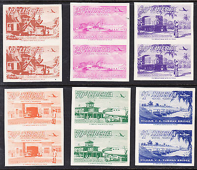 Liberia # C71-76 IMPERFORATE PAIRS MNH 1953 Set Bridge Plane Train Ship Toned