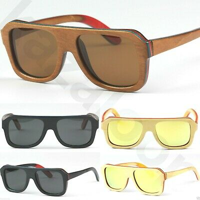Wood Bamboo Skateboard Layered Sunglasses Flat top Square Polarized Lens CE