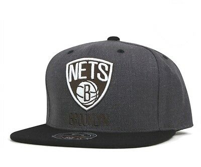 Mitchell & Ness Brooklyn Nets Charcoal Dune 2 Tone High Crown Fitted Hat