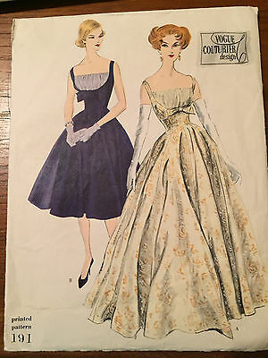 Vintage Vogue Couturier 191 Printed Pattern - 1950's Size 12 Bust 32. Hip 34