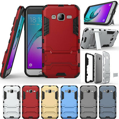 Hybrid Rugged Shockproof Rubber Stand Case Cover For Samsung Galaxy J7 2015 J700