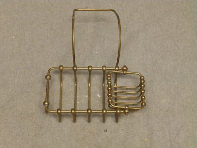 Antique Brass Wire Basket ClawFoot Tub Rim Soap Dish Sponge Holder Vtg 432-16