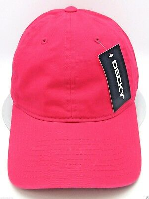 8fa8f94438f7d Hot Pink Unconstructed Cap DECKY Dad Hat Curved Visor Adjustable 100%Cotton  NWT