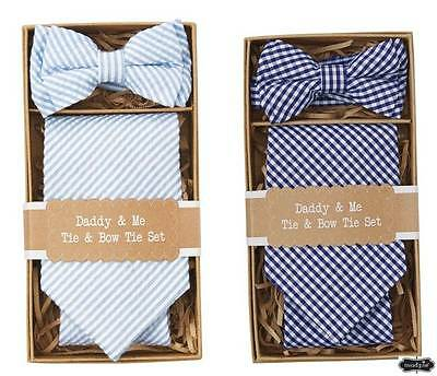 Mud Pie Easter Daddy & Me Tie & Bow Tie Set Blue or Navy