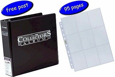 Black Ultra Pro Collectors Album/Binder & 95 Platinum 9 Pocket Pages inc UK Post