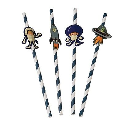 dotcomgiftshop PACK OF 4 SPACE ADVENTURE PARTY STRAWS