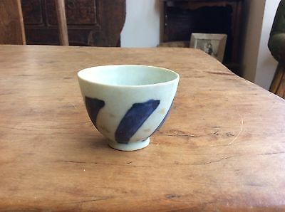 Very Interesting Antique Chinese Teacup Blue White with Subtle Flora Motifs