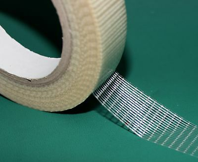 "Cricket Bat Repair Tape 50mtr Roll x 25mm 1"" Reinforced Fiberglass Edging"