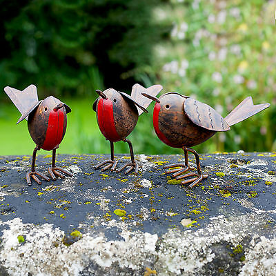 3 Metal Robin Bird Garden or Home Ornaments Hand Finished Robins