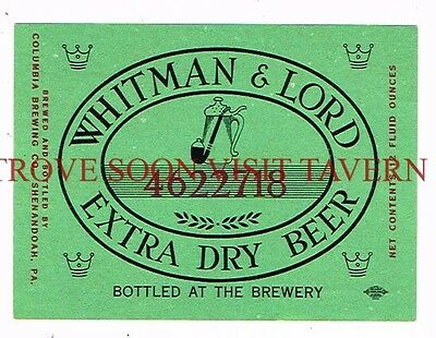 Unused 1960s Whitman & Lord Shamokin 12oz Beer Label Tavern Trove Pennsylvania