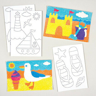 Beach Sand Art Pictures for Kids to Decorate & Display as Summer Crafts (8 pcs)