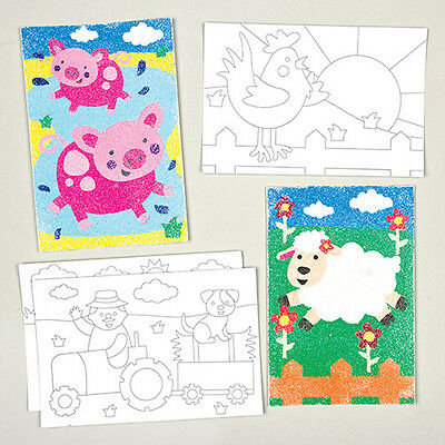 Farm Animals Sand & Glitter Art Pictures for Children to Decorate (Pack of 8)